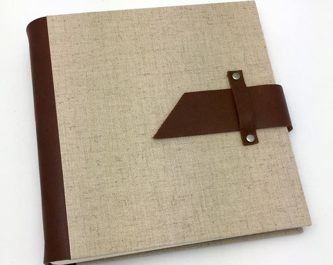 Featured listing image: Handbound Scrapbook Album - 8x8 Leather and Linen - In Stock