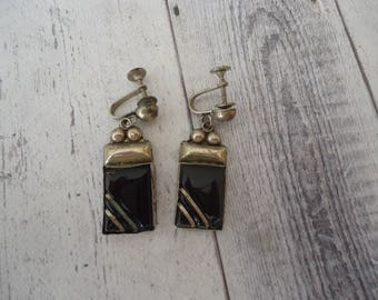 Vintage Estate 925 Sterling Silver and Onyx Gemstone Screw Back Earrings