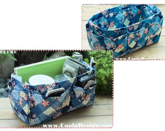 Handbag Organizer, Liner, Insert 14 Compartments Perfect For Medium and Large Tote, Blue Floral