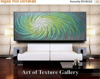 SALE Custom 70 x 30 HUGE Original Abstract Heavy Impasto Texture Aqua Gray Green Silver Modern Metallics Oil Painting by Je Hlobik