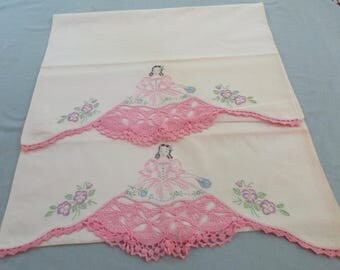 Pair of Pillowcases with Embroidered Southern Belle with Crocheted Skirt and Flowers nearby - Vintage Cotton - VL12N