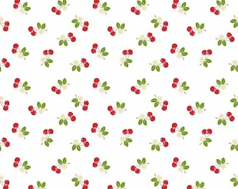 7.00 A Yard - One Week Sale - Lori Holt For Riley Blake Sew 2 Cherry White With Cherries - C5804