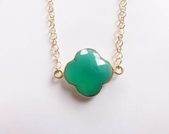 Step-Cut Faceted Green Onyx Vermeil Bezel Clover Quatrefoil Connector on Gold Chain Necklace (N1825)