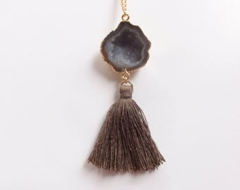 Gold Dipped Sugary Brown Geode Druzy Connector and Brown Cotton Tassel on Gold Chain Necklace (N1826)