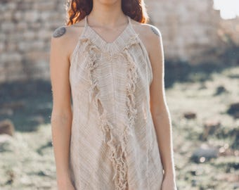 Crystal Heart Halter Dress. Maxi dress. Beach dress. Festival dress. Summer dress. Gypsy dress. Dress with fringe. Sleeveless dress