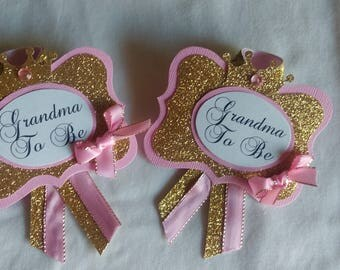SALE - (2) Grandma to be pin, Pink, Gold, Corsage Pin, Baby Shower,