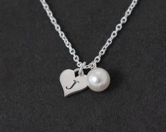 Sterling Silver Heart Bracelet, Heart and Pearl Bracelet, Personalized Bracelet Heart Jewelry