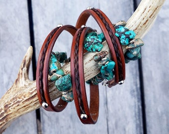 Horse Hair and Turquoise Wrap Bracelet - Braided Horsehair