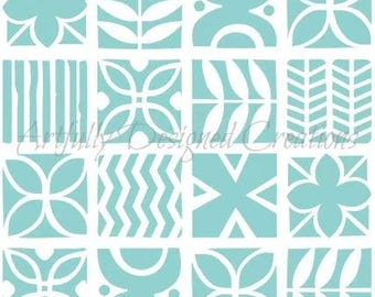 Tapa Cloth Background Stencil by Artfully Designed Creations