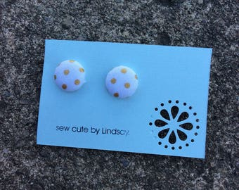 Covered Button Earrings - White with metallic gold polka dots
