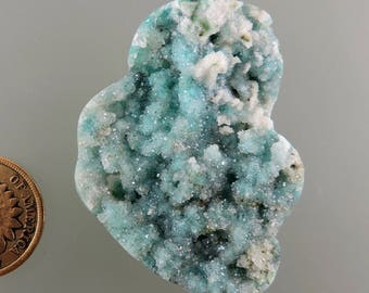 Druzy Chrysocolla Cabochon, Druzy Quartz over Chrysocolla Cab, Druzy Quartz Cab, Pendant Cab, Gift Cab, C2455, Handcrafted by 49erMinerals