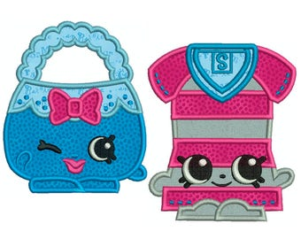 Bag and Dress - Machine Applique Embroidery - 2 Patterns in 3 Sizes - Instant Digital Download
