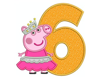 PEPPA PIG Ballerina Number 6 - Machine Applique Embroidery - Instant Digital Download