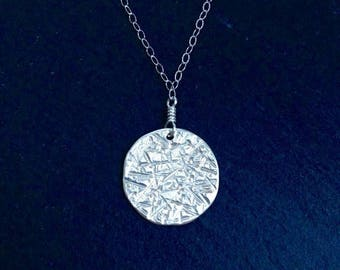 SALE Moon Medallion Sterling Silver Necklace