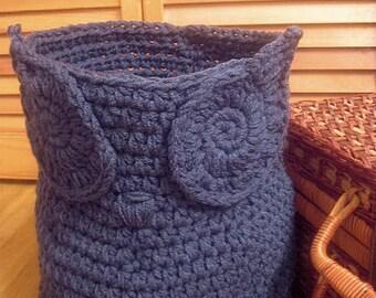 Owl Basket, Owl Decor, Crochet owl basket, owl nursery decor, yarn holder, towel holder, woodland nursery, home organization, WINDSOR BLUE