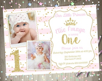 Princess 1st Birthday Invitation invite Pink and Gold 1st Birthday Invitation Photo Invitation Picture Printable