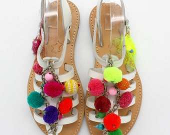 SALE!! Size 39 -US 8-8.5Boho sandals leather sandals!Pom pom sandals Greek leather sandals, strap leather sandals