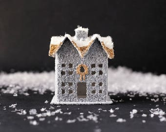 Winter Cottage - Stone Gray and Gold Vintage Style House Christmas Decoration