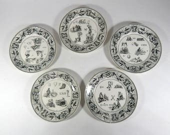 French Antique Plates Group of 5 Rebus Theme c.1850s