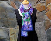 Purple merino wool flowers on hand dyed silk, nuno felt scarf