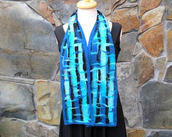 Nuno felt scarf: turquoise, teal, and aqua fiber painting