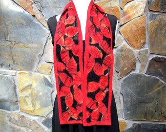 Nuno felt scarf: fiber painting in reds with black accents