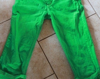 Hand Dyed Capri Pants Bright Green Upcycled
