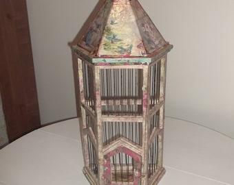 Decoupage Artwork Decorative Bird Cage JUST REDUCED