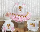 Minnie Mouse Fancy Birthday Boutique Tutu Outfit - Pink and Gold One Birthday Tutu set - Baby Minnie First Birthday Bib Bloomers Headband