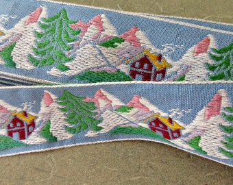 RESERVED LISTING Vintage Ribbon, Woodland Ribbon, Chalet and Mountains, Woven Ribbon, Alpine Ribbon, Vintage Trim, Woven Trim, Sewing Supply