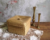 Woven Seagrass Basket & Lidded , Square Sea Grass Basket , Cocktail Napkin Holder , Bathroom Storage Basket , Neutral Beach House Decor