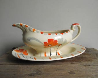 Myott Gravy Boat , Art Deco Gravy Boat with Underplate , Hand Painted Floral Sauce Boat Myott Son & Co 1385 , Farmhouse Cottage Chic