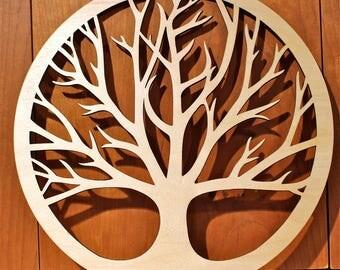 "Jumbo Tree of Life Wall Art, 23""x23""x1/4"" , Laser Engraved, Paul Szewc, Masterpiece Laser"