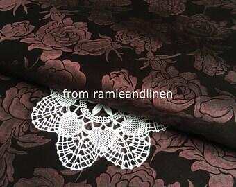 "silk fabric, silk damask fabric, 100% silk brocade rose fabric, Fat Quarter, 18"" by 29"""