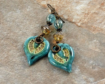 Gypsy Rustic Bohemian Chic Ceramic Charms Wire Wrapped Czech Glass Earrings