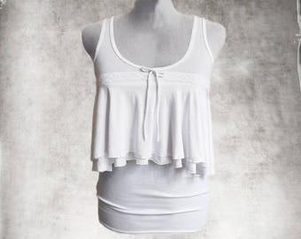 White tank top/Double front ruffle/sleeveless tee