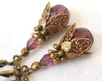 purple victorian earrings victorian dangle earrings purple earrings purple dangle earrings vintage style earrings purple earrings
