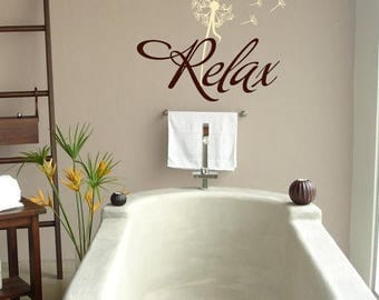 20% OFF Relax with dandelion- Bathroom-Vinyl Lettering wall words graphics Home decor itswritteninvinyl