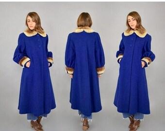 SUMMER SALE Bouclé Wool + Faux Fur Coat