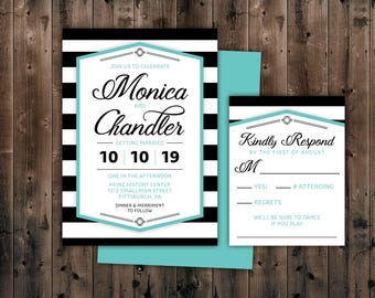 Modern Wedding Invitation, Black U0026 White Striped Wedding Invitations With  RSVP, Casual Wedding Invite