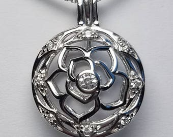 Sterling Silver Flower Cage Pendant with Crystal