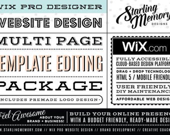 RESERVED FOR CYNTHIA -  3 Page Wix Website Template Editing Package - Wix WebDesign Template Package - Wix Pro - Wix Webdesign Package