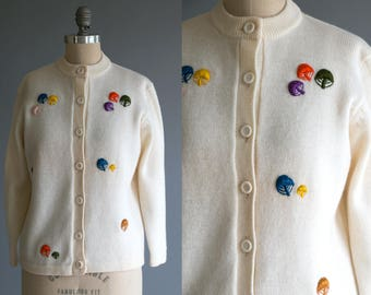 Vintage 1960's Wool Embroidered Mushroom Button Up Sweater/ Cardigan by Neiman-Marcus / Retro / Women's Size Small