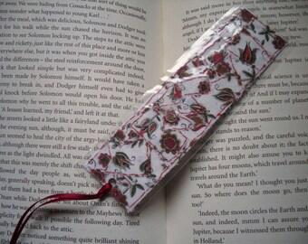 Laminated Fabric Collage  Bookmark, Upcycled bookmark