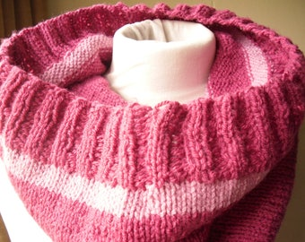 Pink Knitted Cowl, Recycled Yarn Cowl