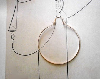 """Big Rose Gold Hoop Earrings 3"""" Large 14k Rose Gold Hinged Hoops Wire Jewelry Pink Gold Hammered Hoops Gold Statement"""