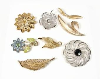 Trifari Monet Sarah Coventry Vintage Flower & Leaf Brooch Lot