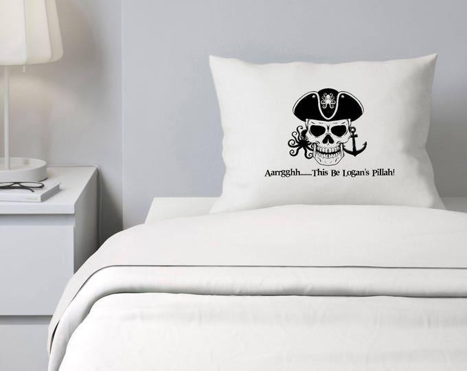 Custom Pillowcase for Boys, Pirate Pillowcase, Argh Pillow Case, Personalized Pillowcase