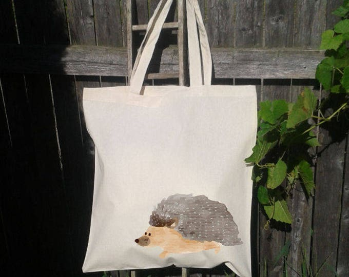 Hedgehod Tote Bag, Reusable Tote Bag, Watercolor Hedgehog, Grocery Bag