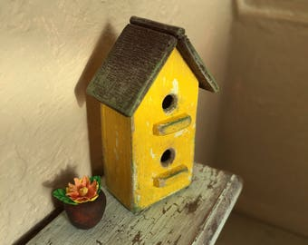 Dollhouse Miniature Birdhouse in Yellow